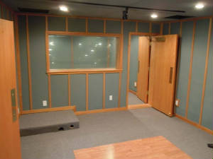 sound room with iso booth
